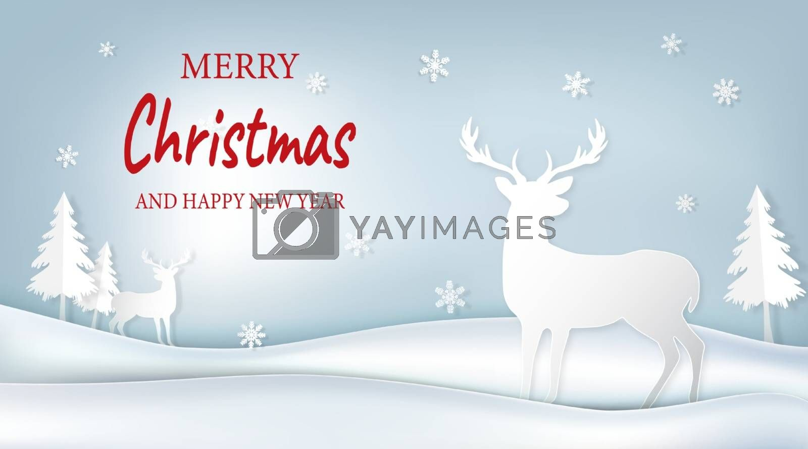 Paper art of cute reindeer and pine tree on blue sky background illustration