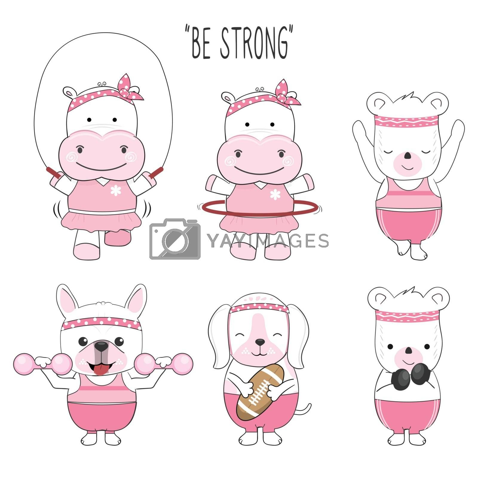 Cute baby animal cartoon character exercise set illustration