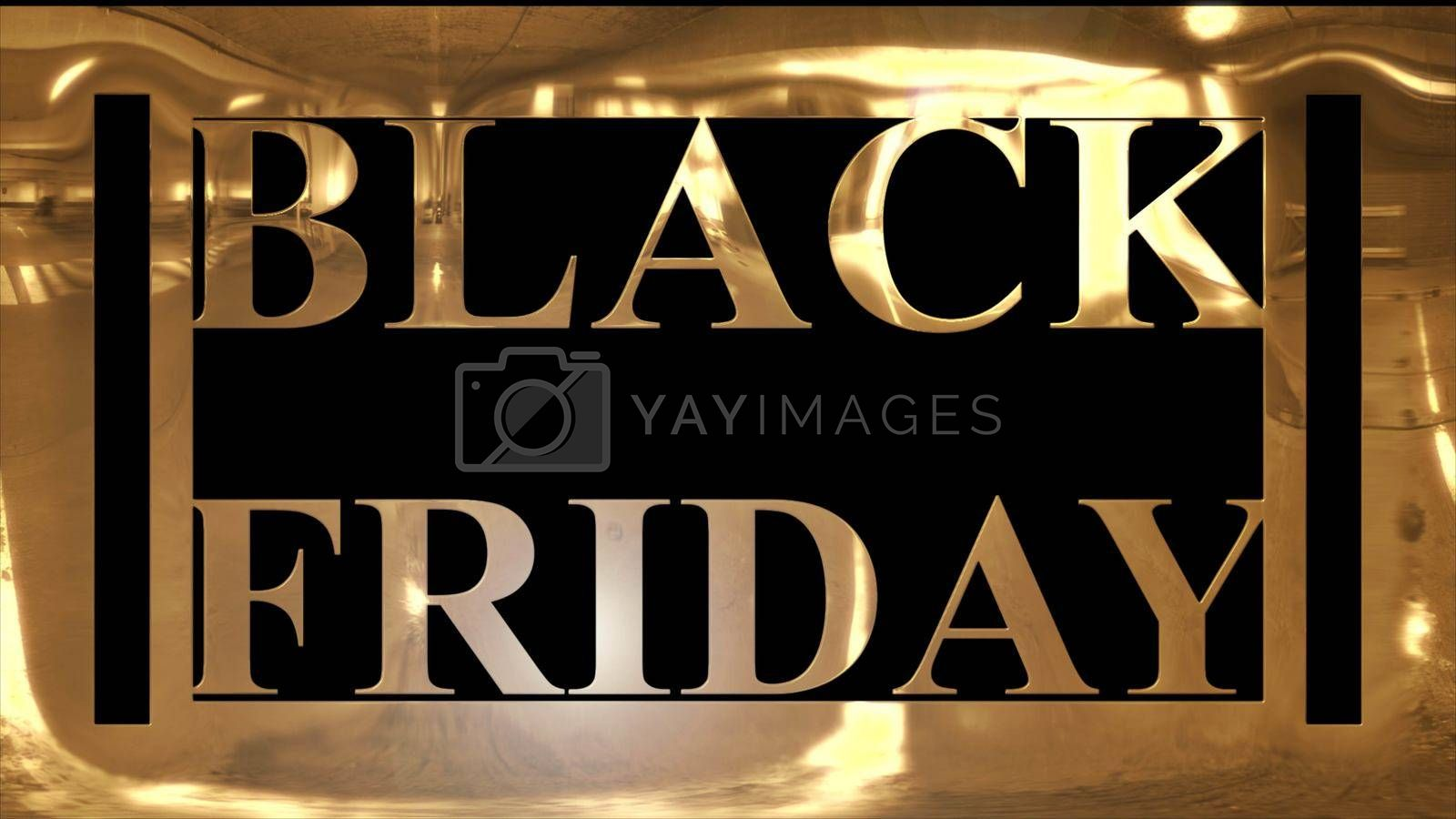 "Golden and shining text of ""BLACK FRIDAY"" with golden frame and dark black background"