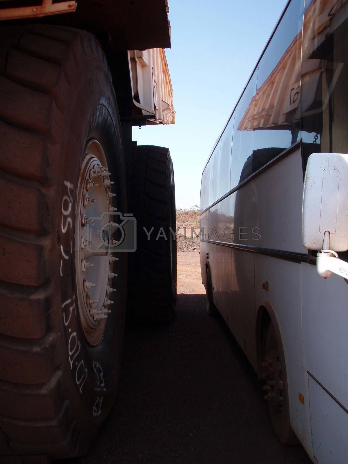 different tires on different motor vehicles, big truck and bus