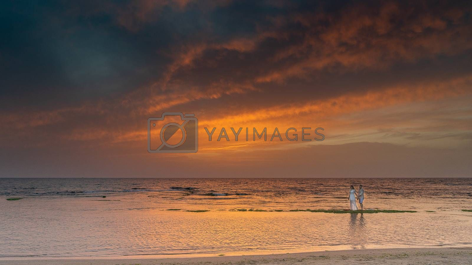 Romantic colorful silent sunset on Mediterranean sea