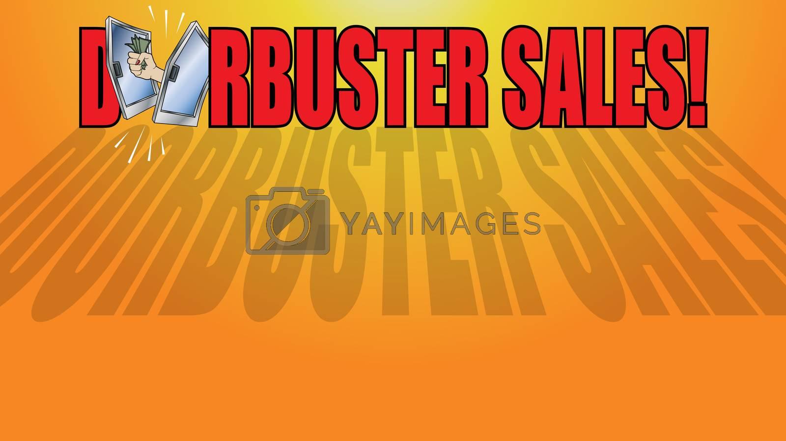Doorbuster Sale Copy Logo on Orange Background