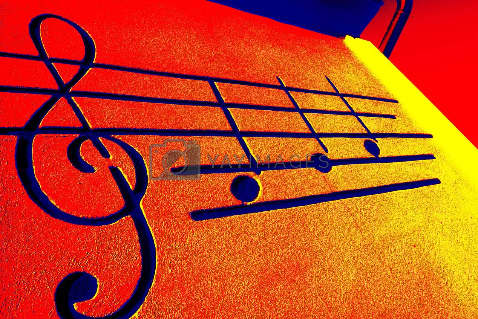 musical notes on a sheet music, red and orange background