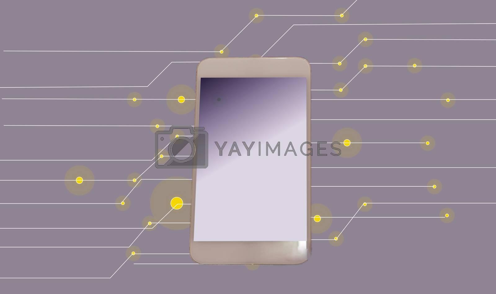 Smart phone technology concept purple background.