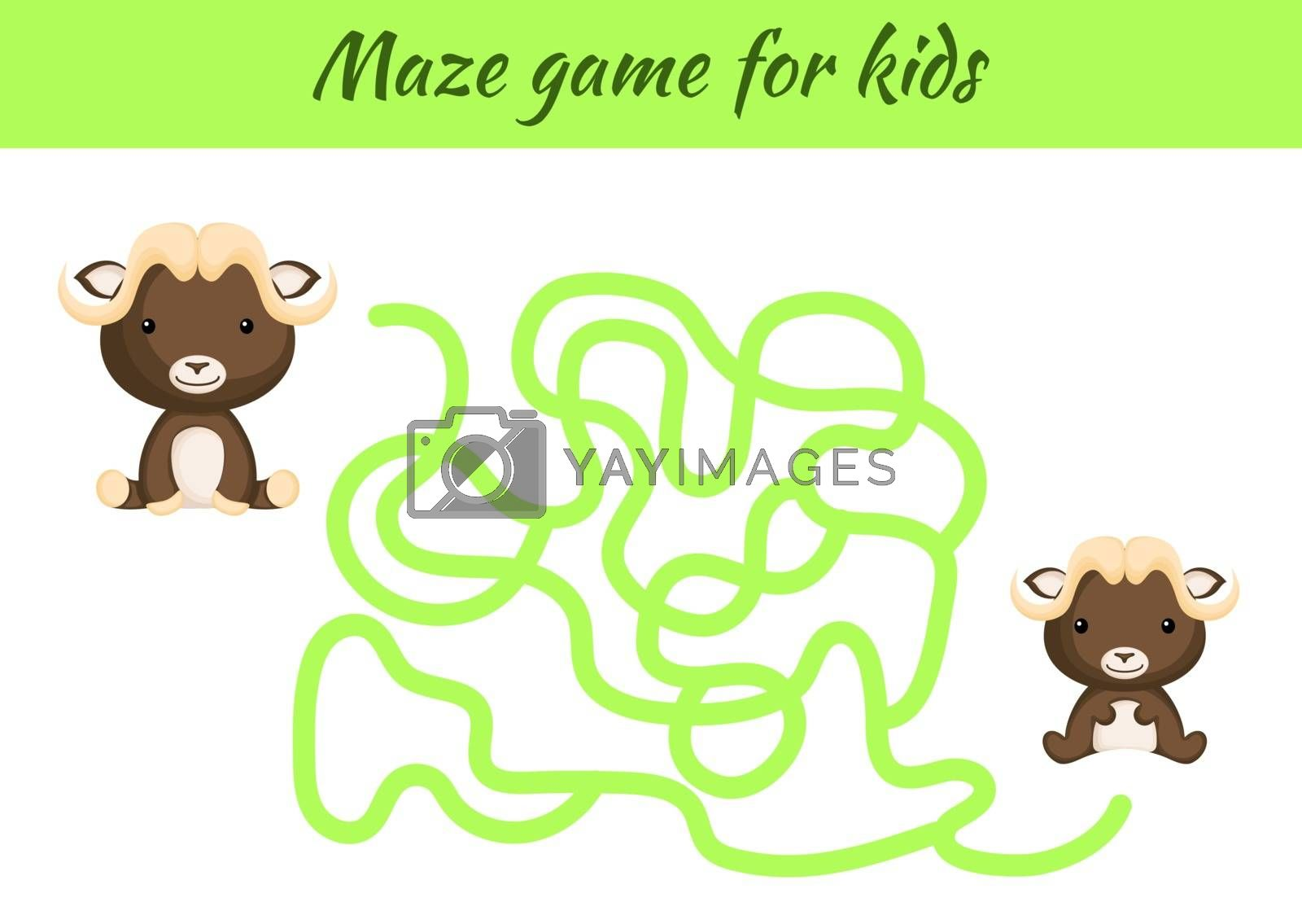 Funny maze or labyrinth game for kids. Help mother find path to baby. Education developing worksheet. Activity page. Cartoon musk ox characters. Riddle for preschool. Color vector stock illustration.