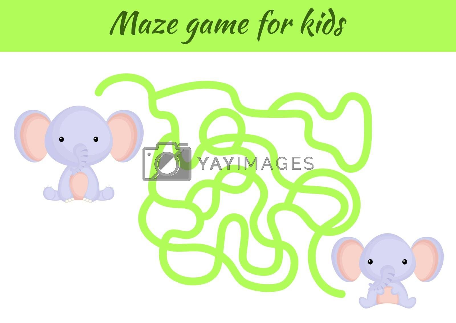 Funny maze or labyrinth game for kids. Help mother find path to baby. Education developing worksheet. Activity page. Cartoon elephant characters. Riddle for preschool. Color vector stock illustration.