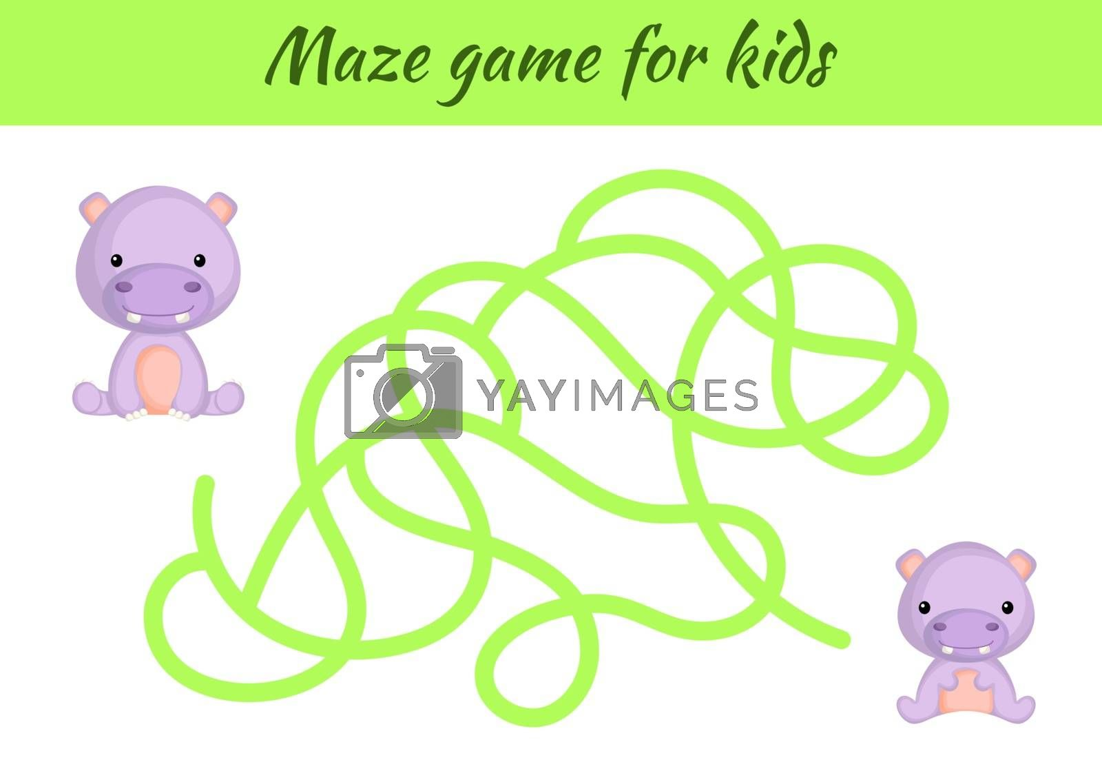 Funny maze or labyrinth game for kids. Help mother find path to baby. Education developing worksheet. Activity page. Cartoon hippo characters. Riddle for preschool. Color vector stock illustration.