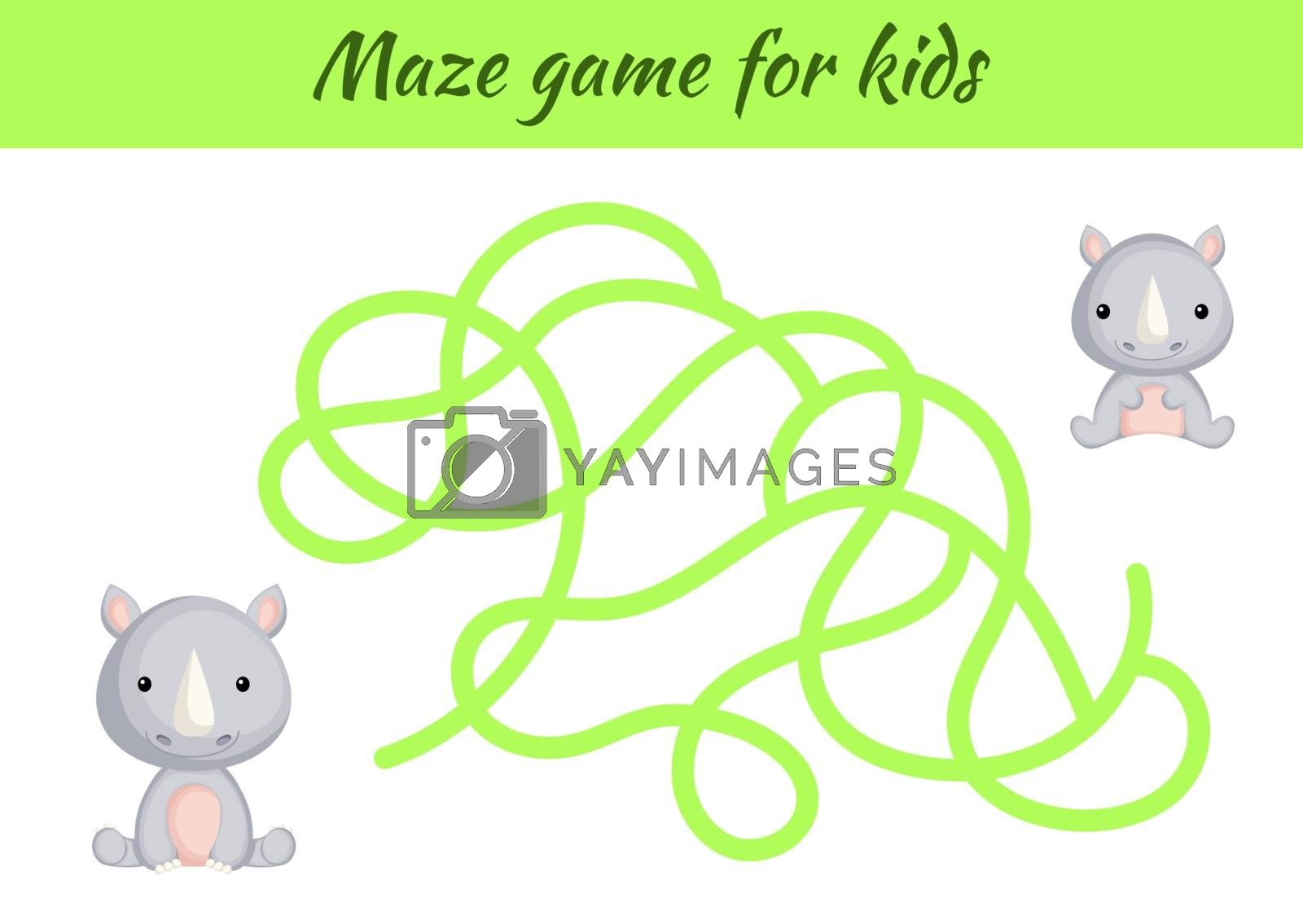 Funny maze or labyrinth game for kids. Help mother find path to baby. Education developing worksheet. Activity page. Cartoon rhino characters. Riddle for preschool. Color vector stock illustration.