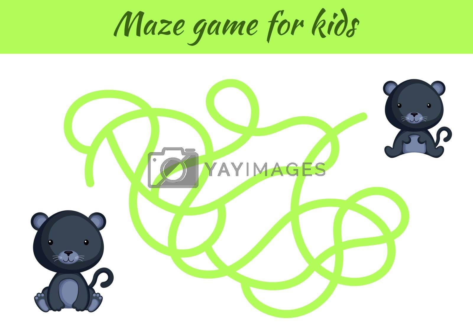 Funny maze or labyrinth game for kids. Help mother find path to baby. Education developing worksheet. Activity page. Cartoon panther characters. Riddle for preschool. Color vector stock illustration.