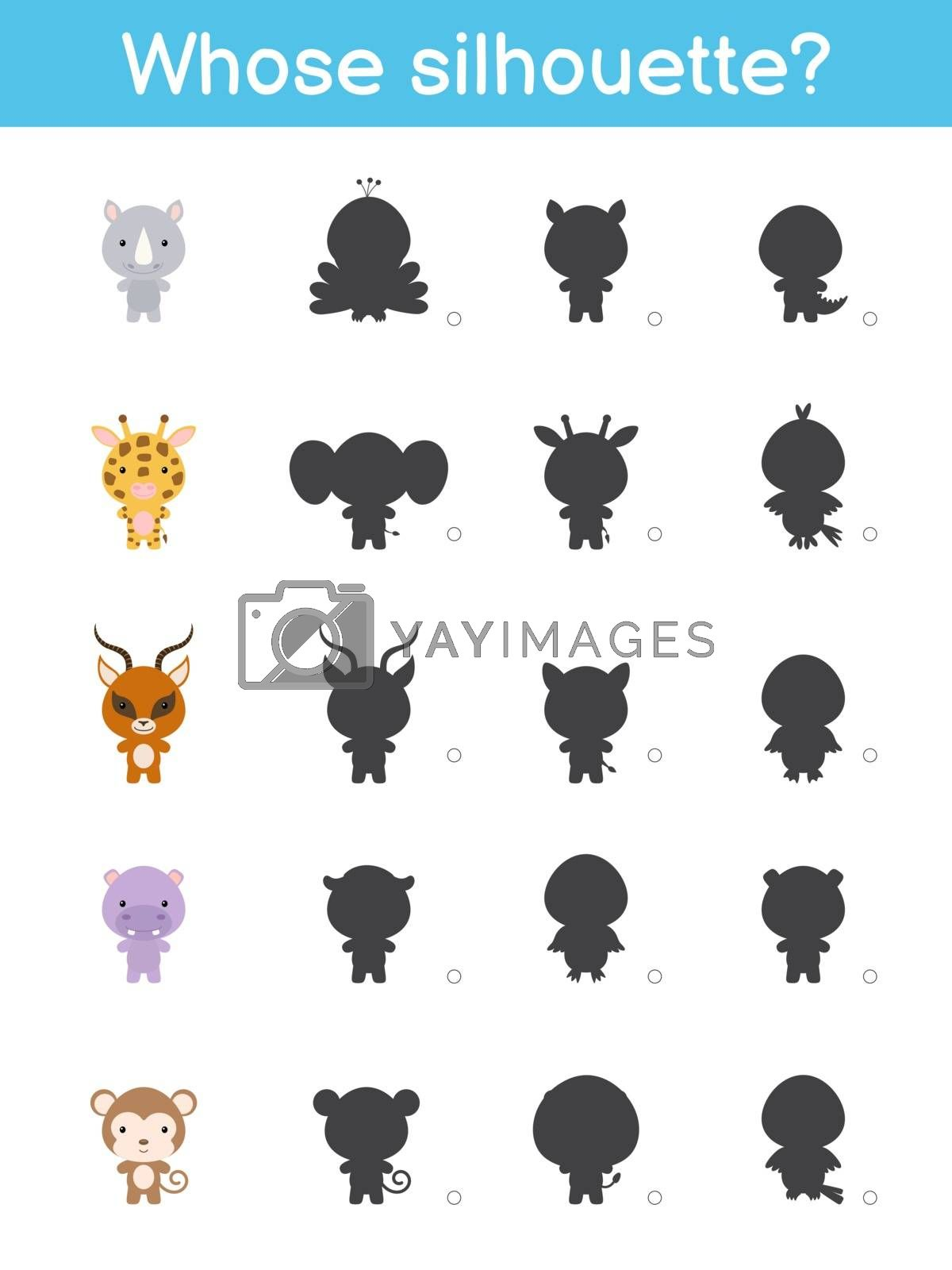 Whose silhouette game template. Matching game for children with african cartoon animals. Kids activity page. Education developing worksheet. Logical thinking training. Vector stock illustration.