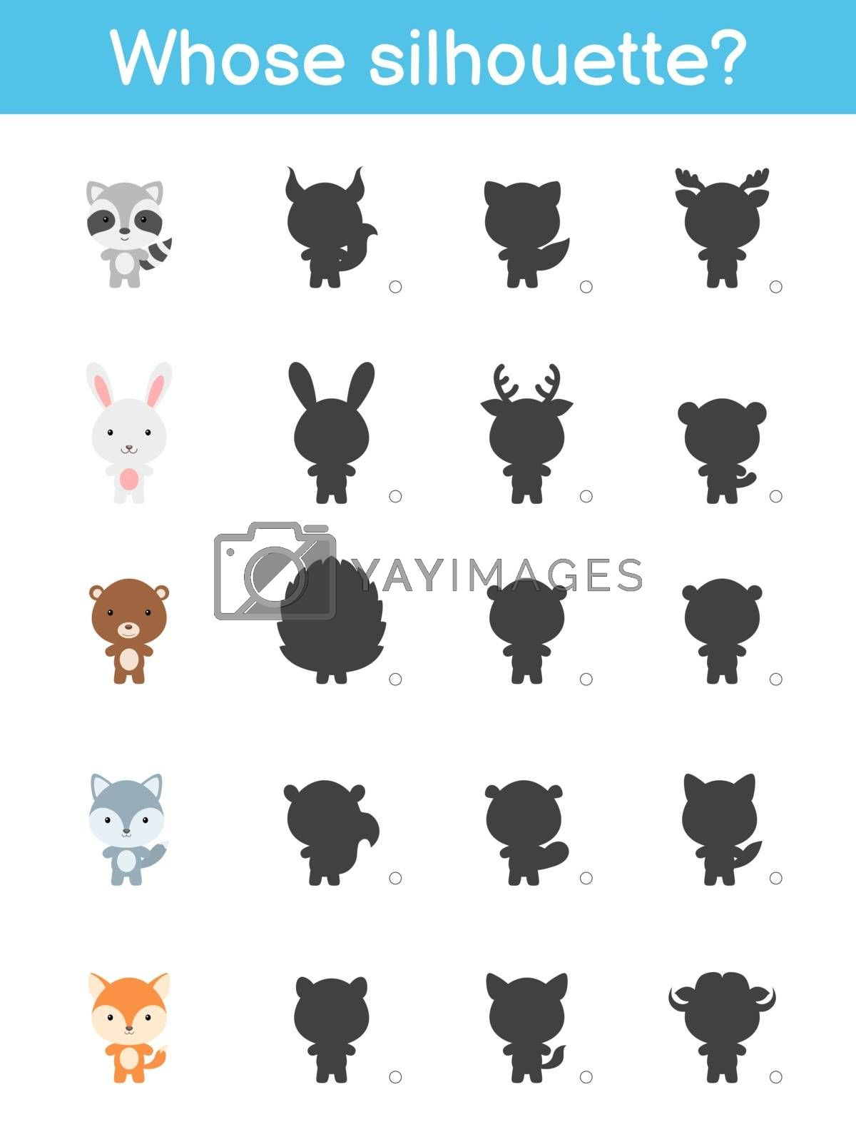 Whose silhouette game template. Matching game for children with forest cartoon animals. Kids activity page. Education developing worksheet. Logical thinking training. Vector stock illustration.