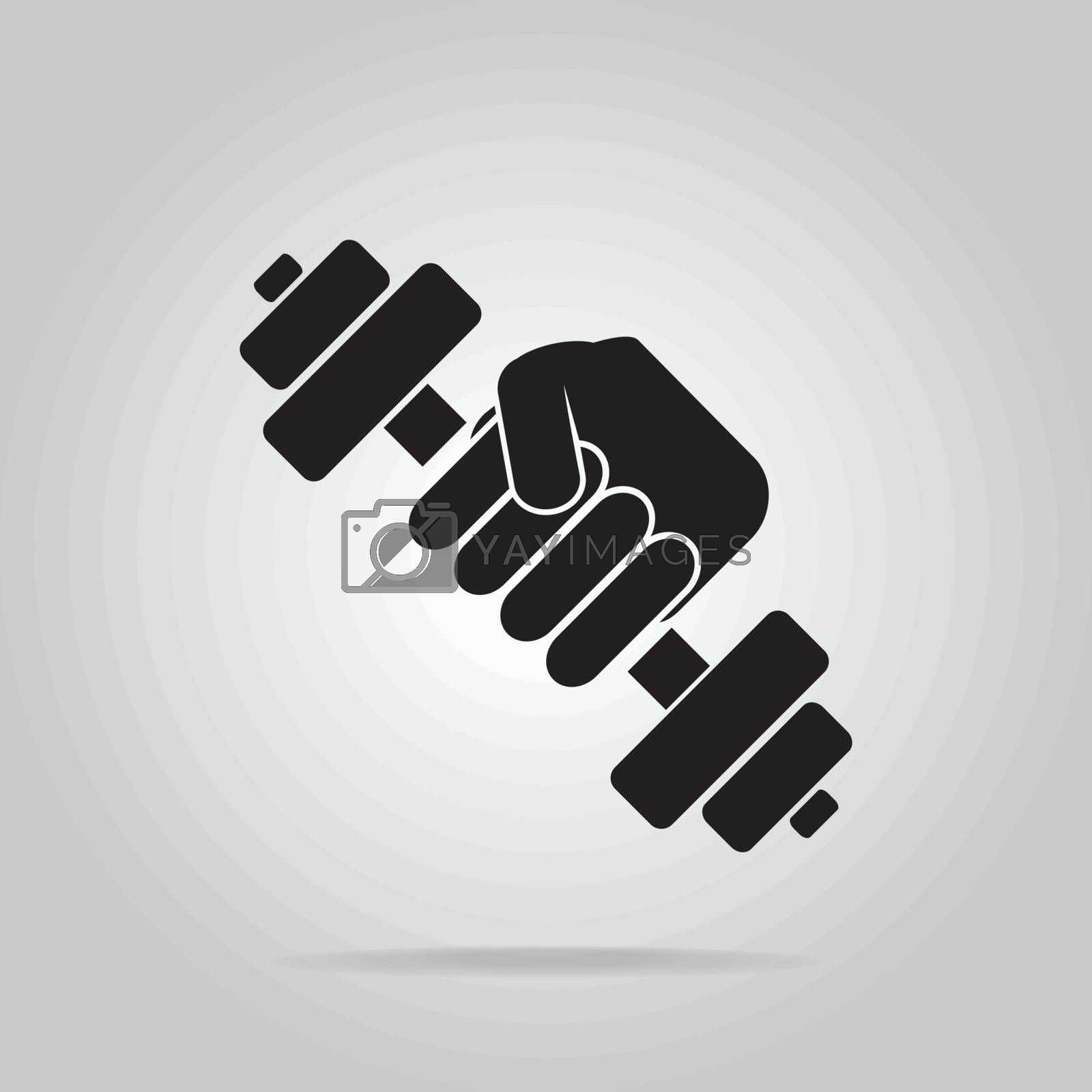 Hand holding with dumbbell icon