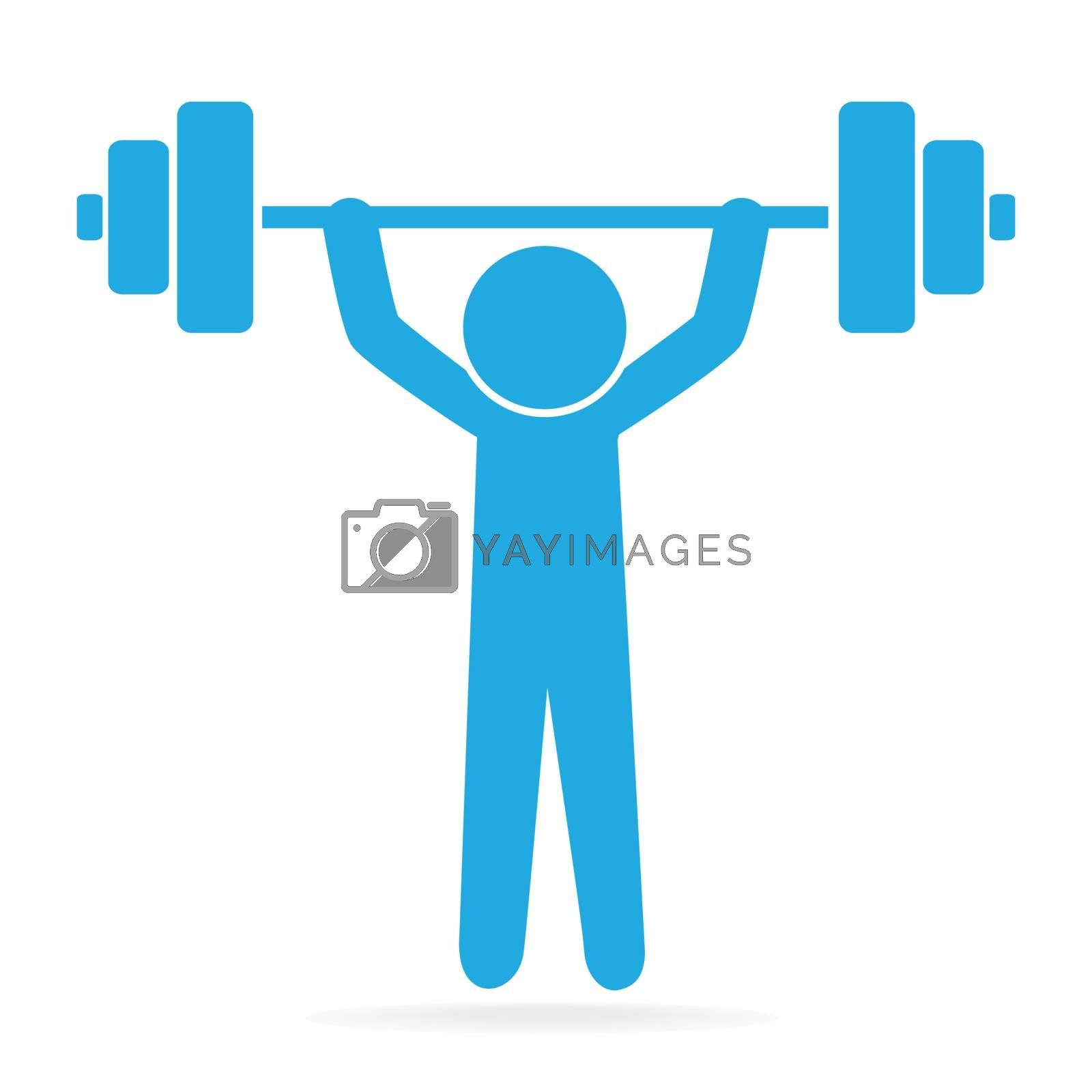 Man lifting weight icon, sport sign illustration