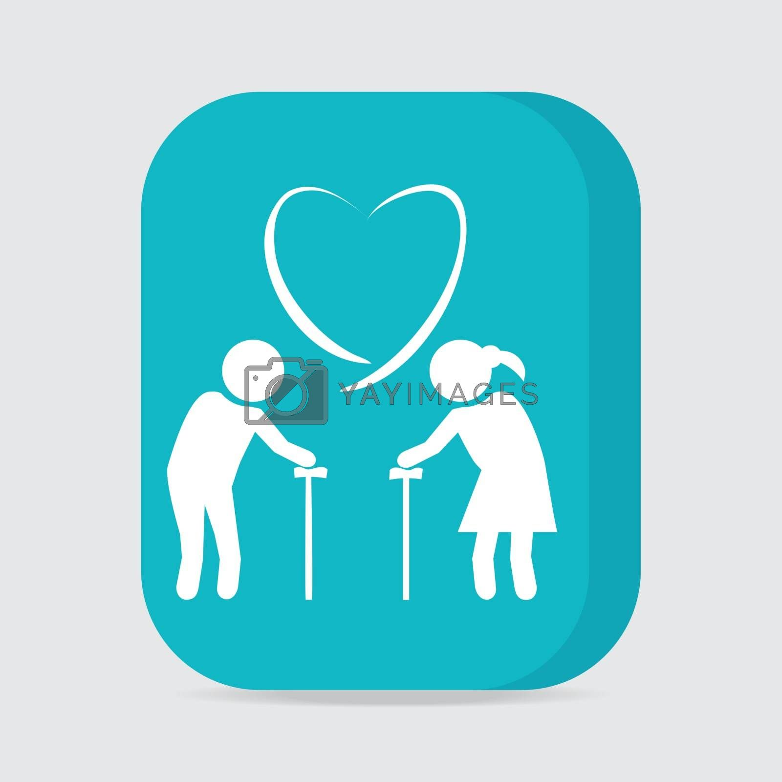 Elderly couple with love symbol. old people couple with heart icon vector illustration