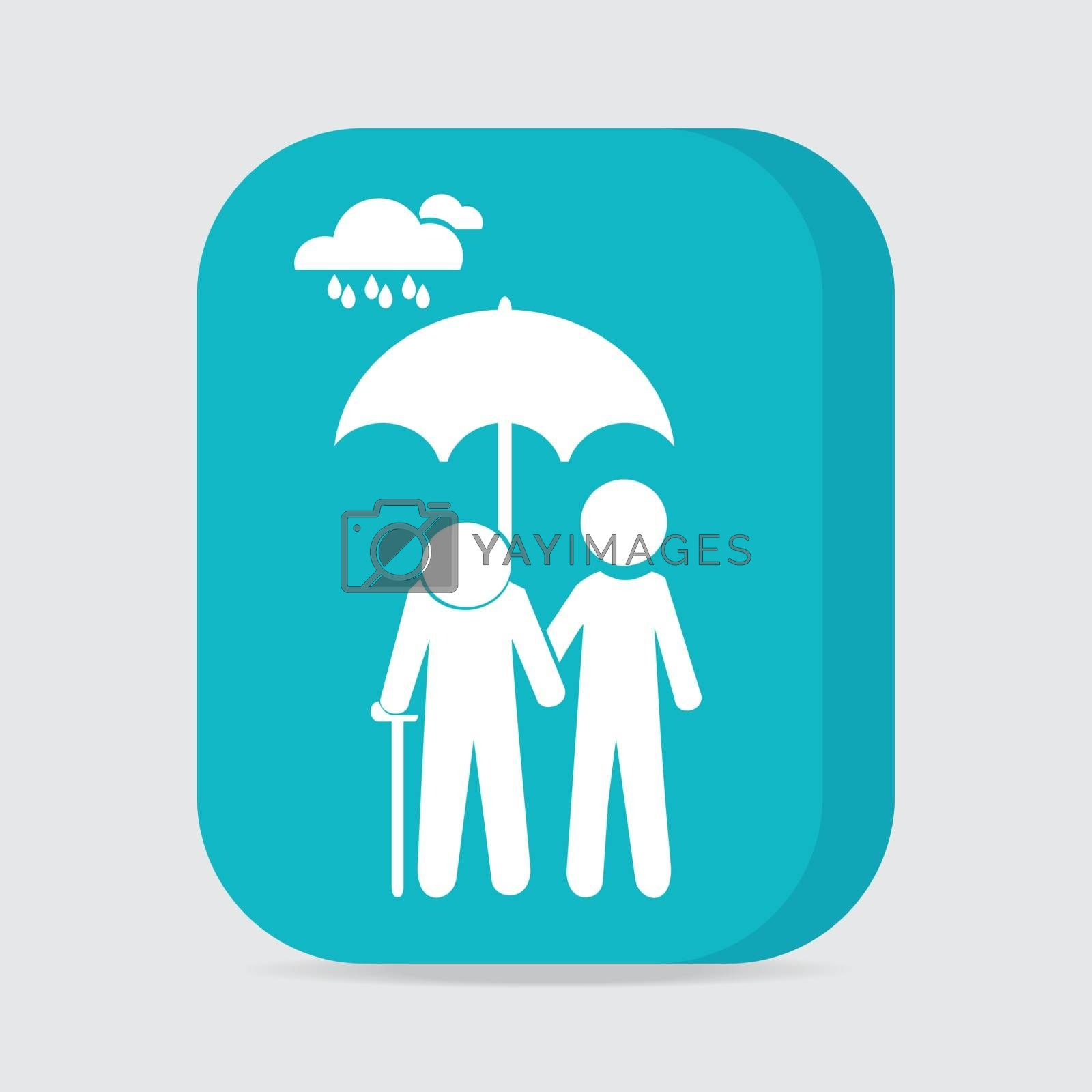 Man holding umbrella and elderly, Man holding umbrella for protection elderly from the rain