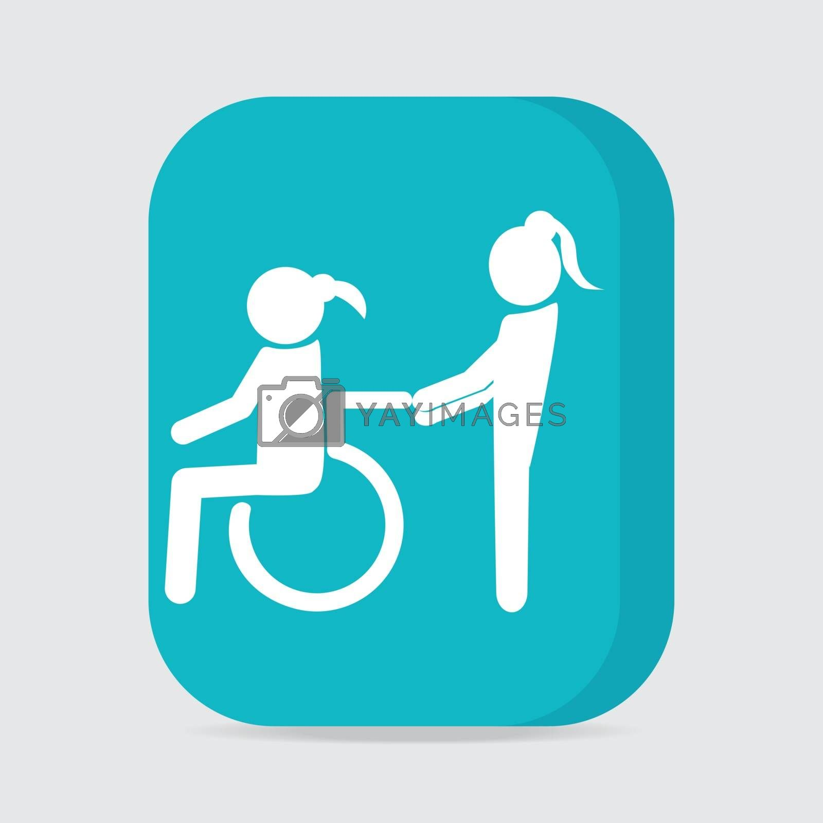 Disabled icon sign, Disabled icon, a woman pushing wheelchair of woman patient illustration