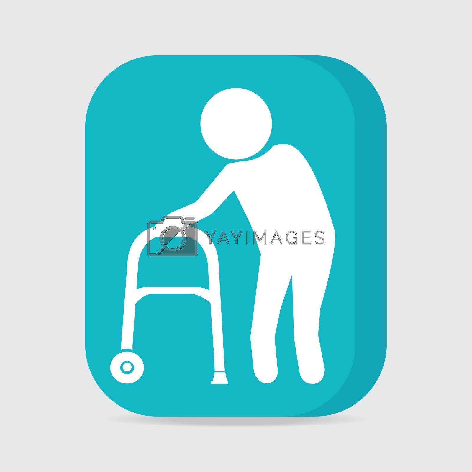Elderly man and walker symbol, button vector illustration