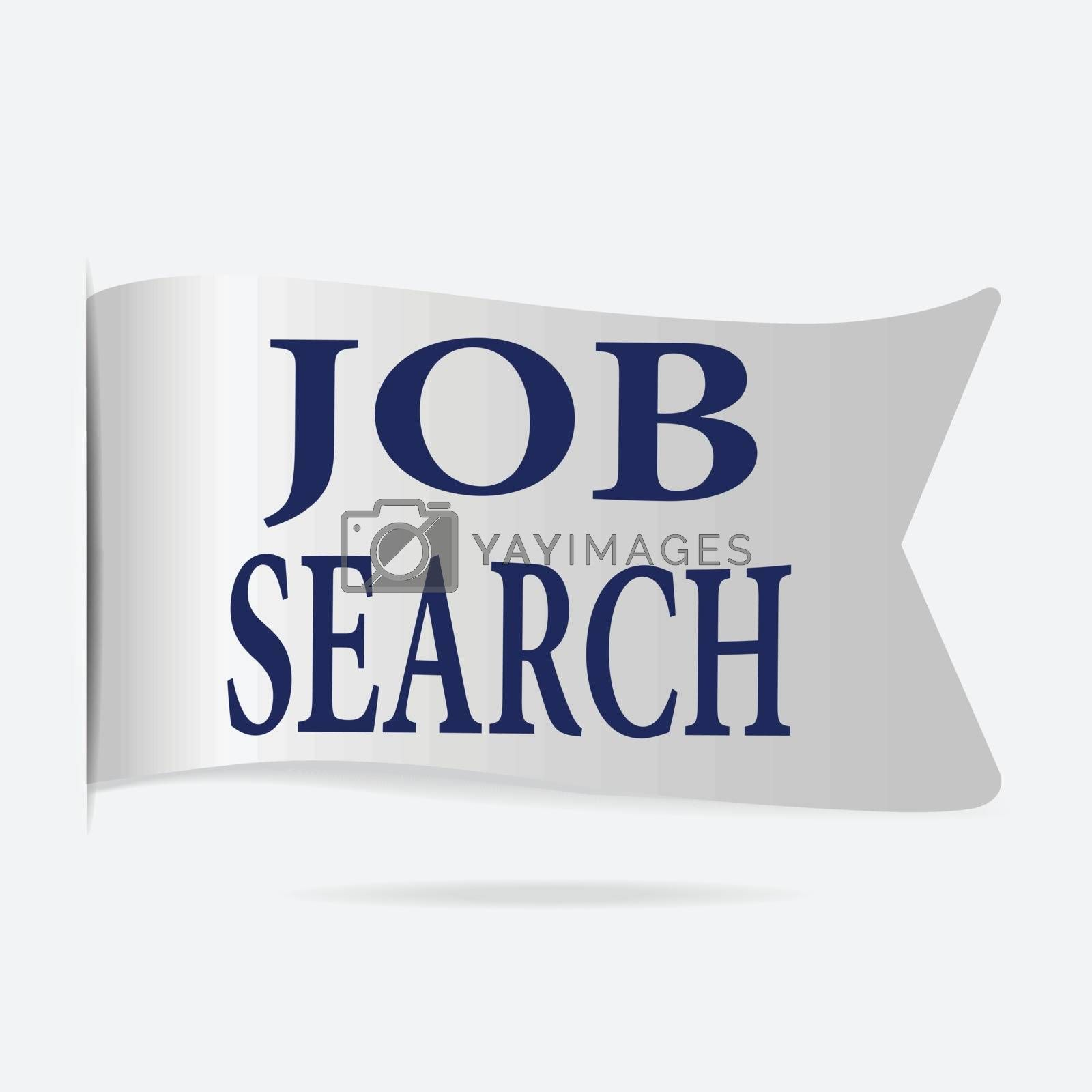 Job search label, silver ribbon badge illustration