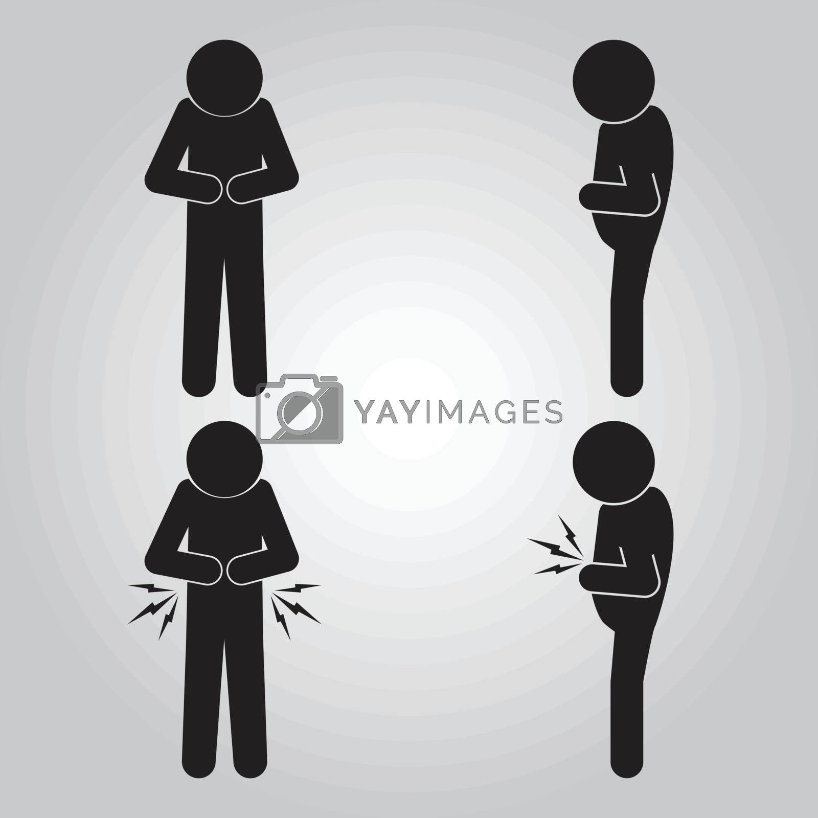 Set of Stomach ache man sign icon illustration