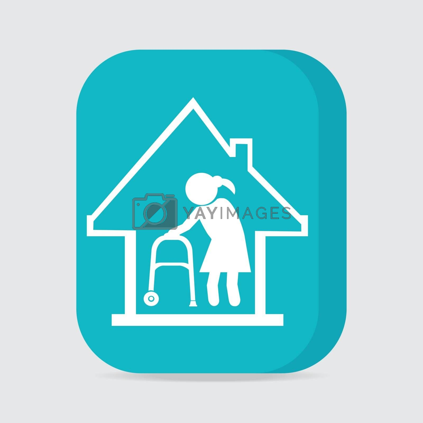 Nursing home button, icon vector illustration