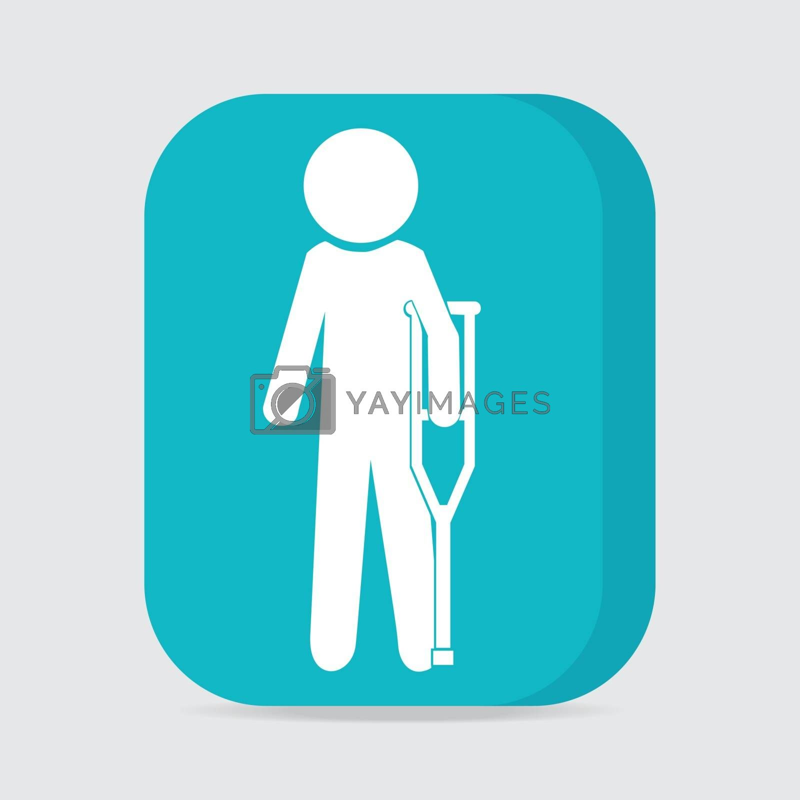 Injured man with crutches sign icon illustration