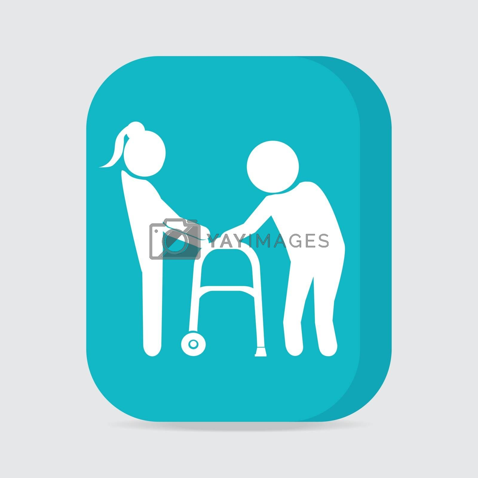 Woman helps elderly patient with a walker, button vector illustration