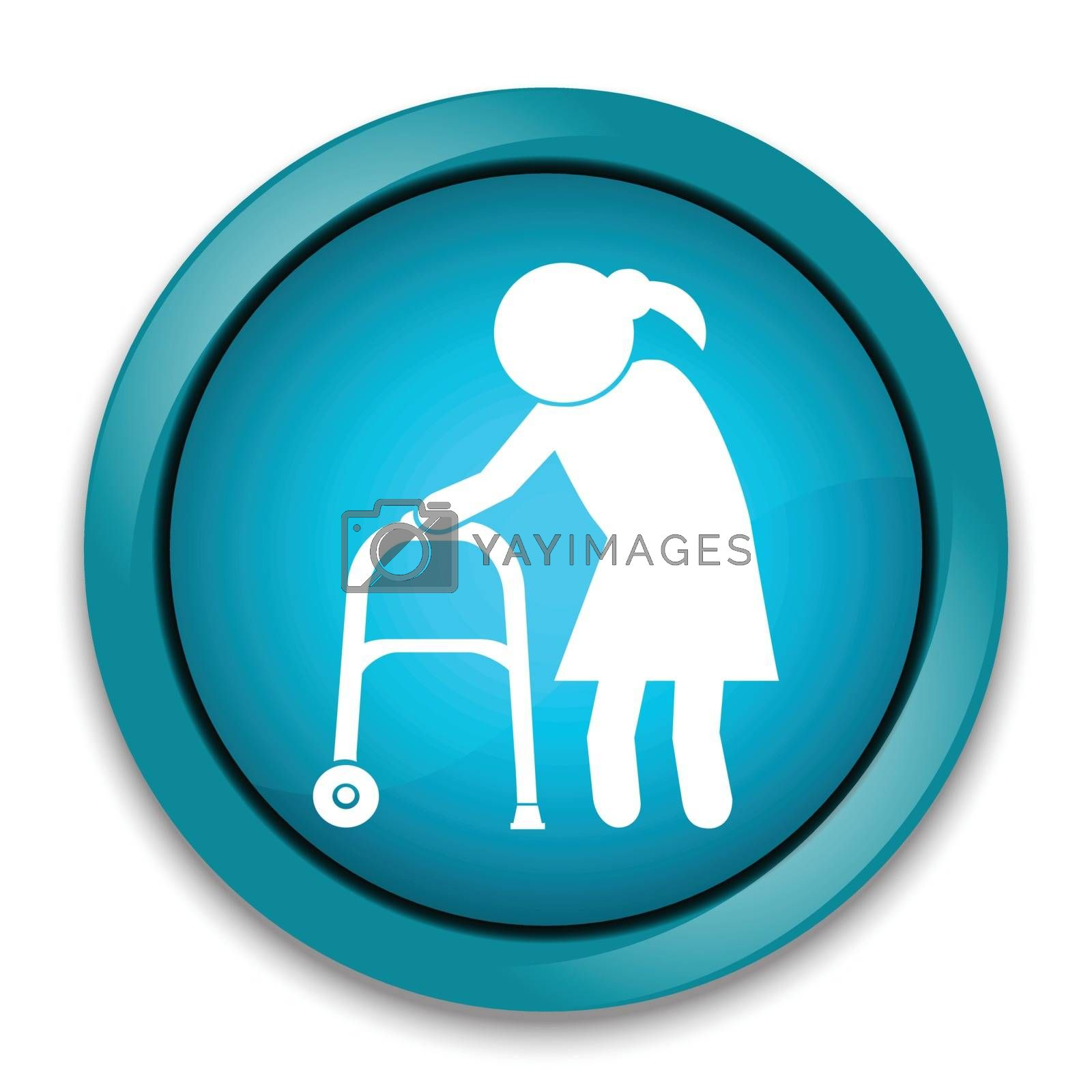 Elderly woman icon. old people icon, button vector illustration