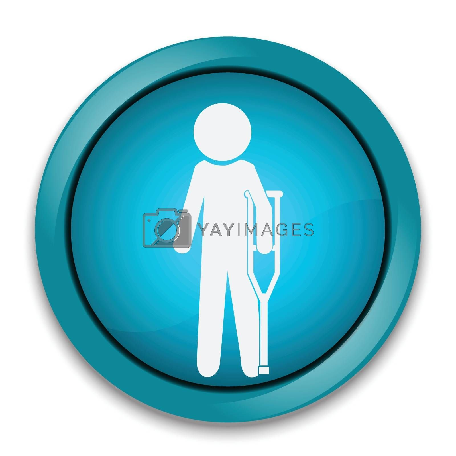 Injured man in bandage with crutches sign icon illustration