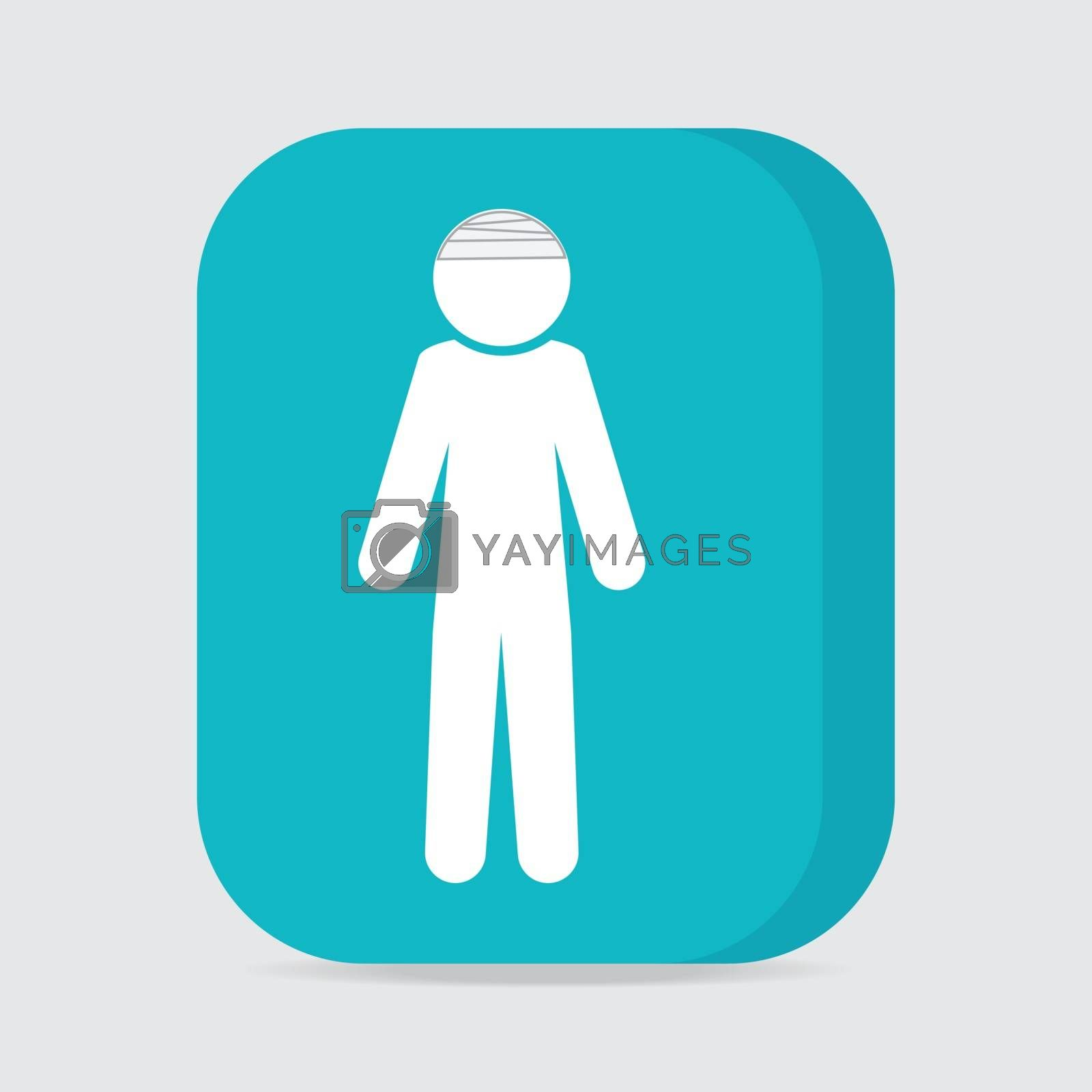 Injured men in bandage sign icon illustration