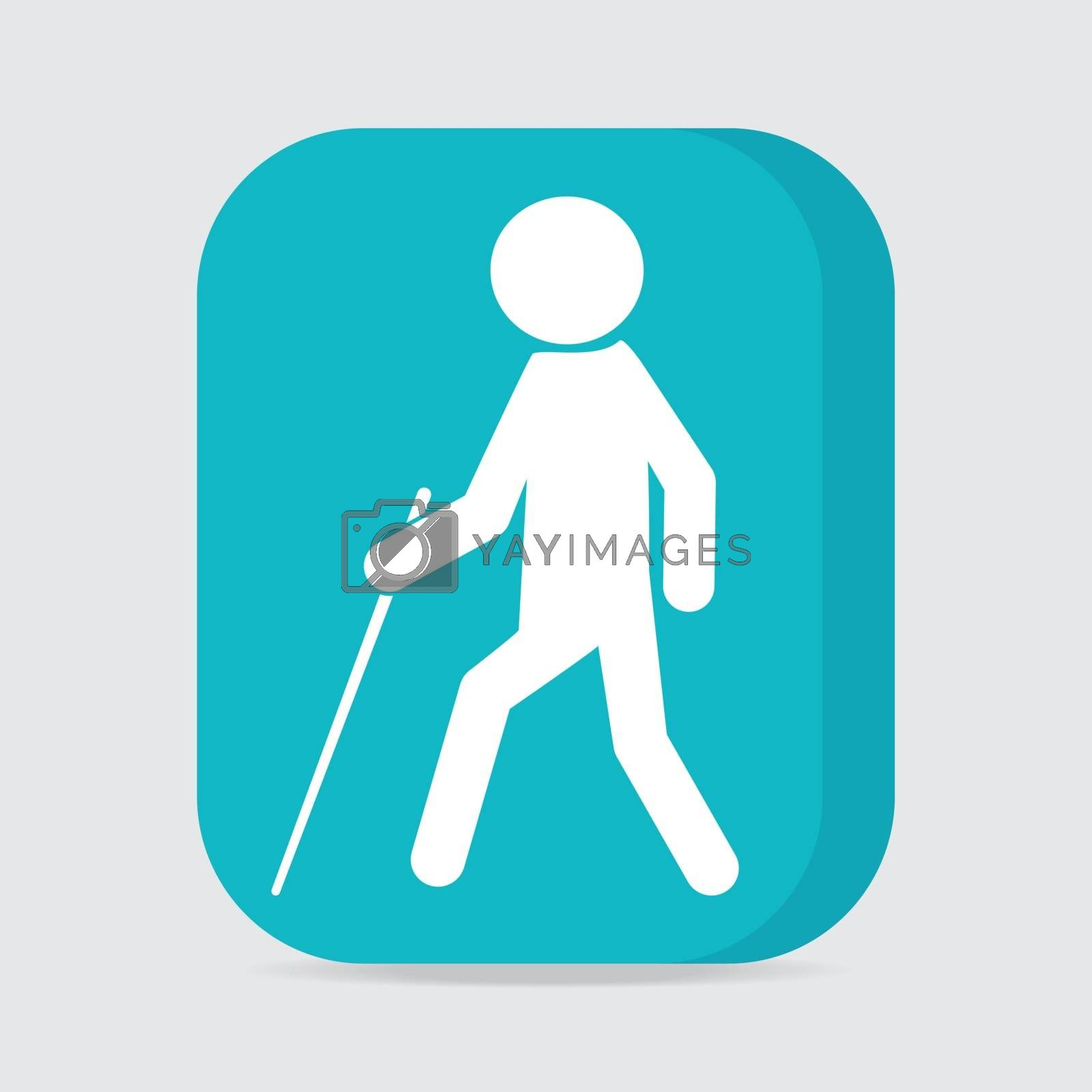 Blind man with stick symbol illustration