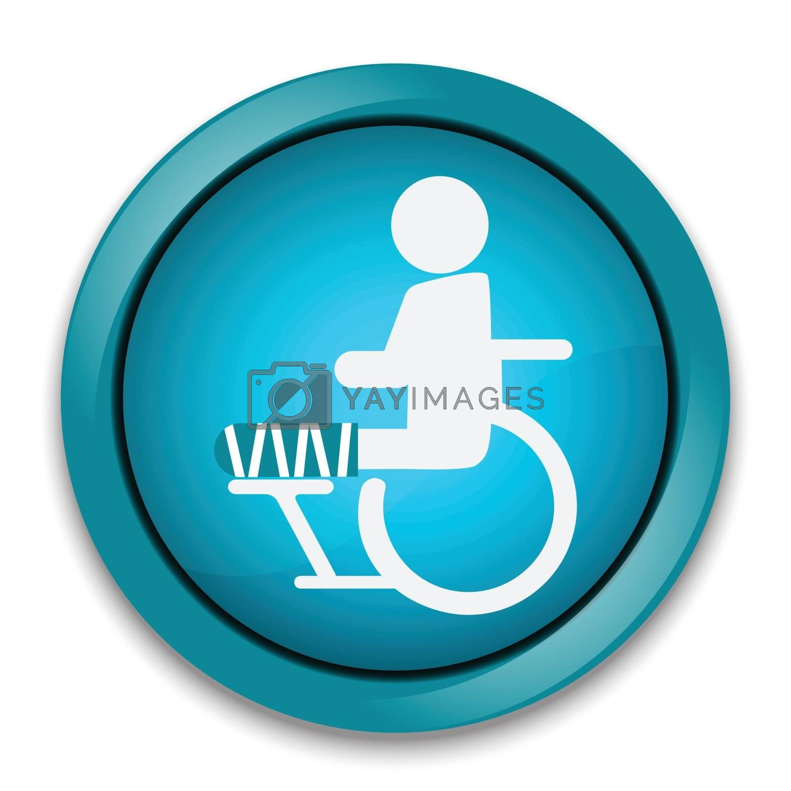 Injury man in bandage and wheelchair sign icon  illustration