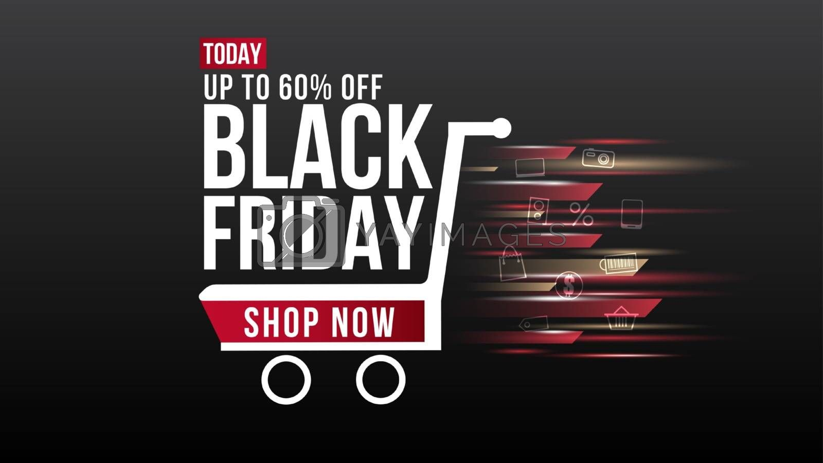 Black Friday sale banner background design template.Poster and Flyer social media for website and mobile website development, email and newsletter design, marketing material.Vector illustration