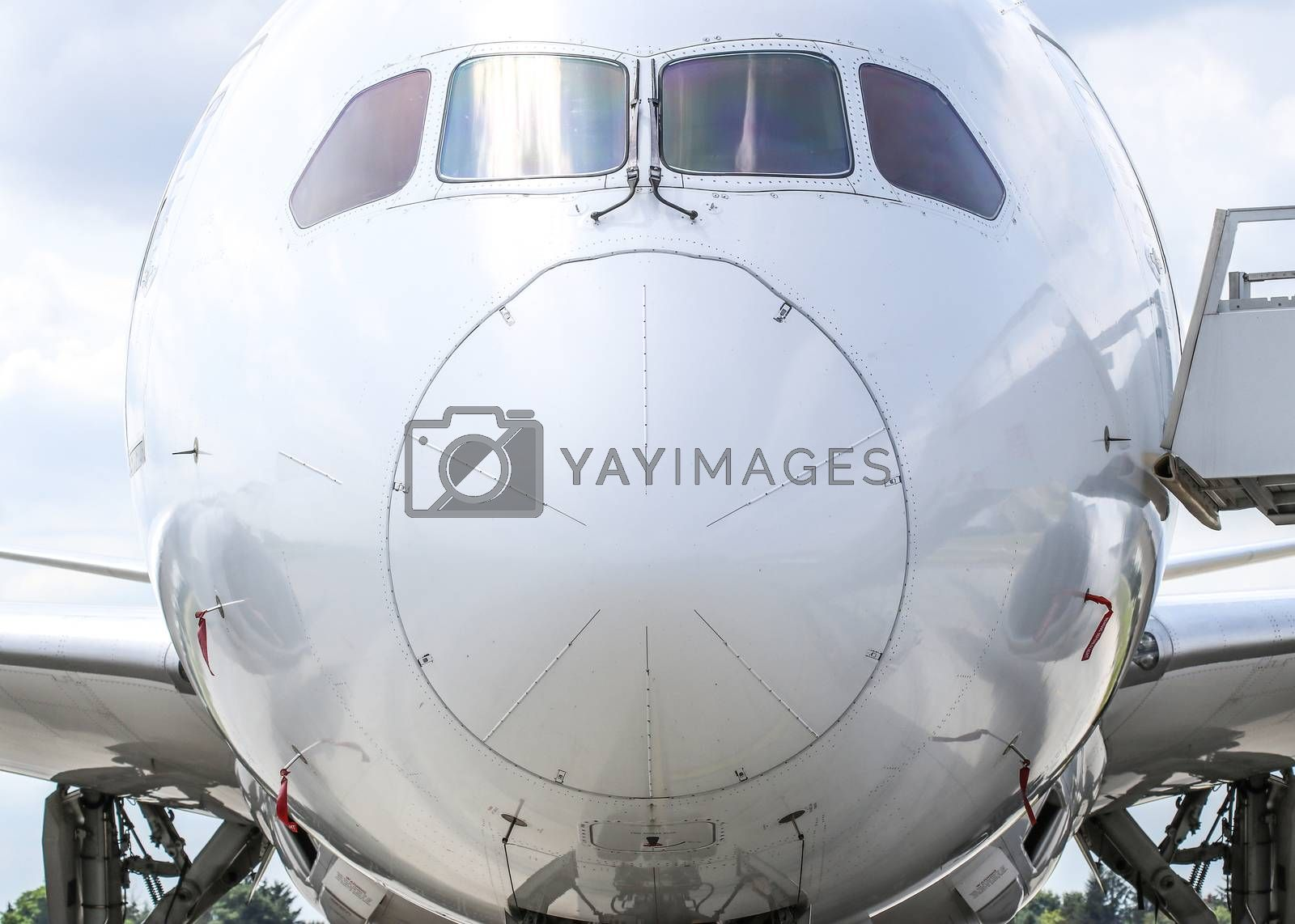 Nose and cockpit of Boeing 787-8 Dreamliner, front view