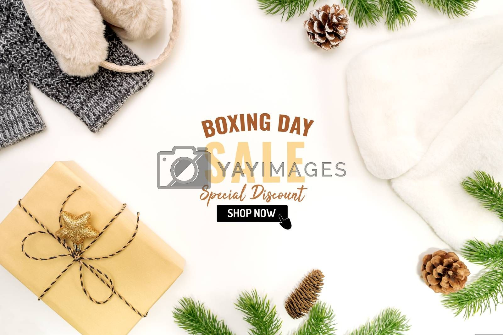 Boxing day sale with Christmas present and xmas decoration on white background