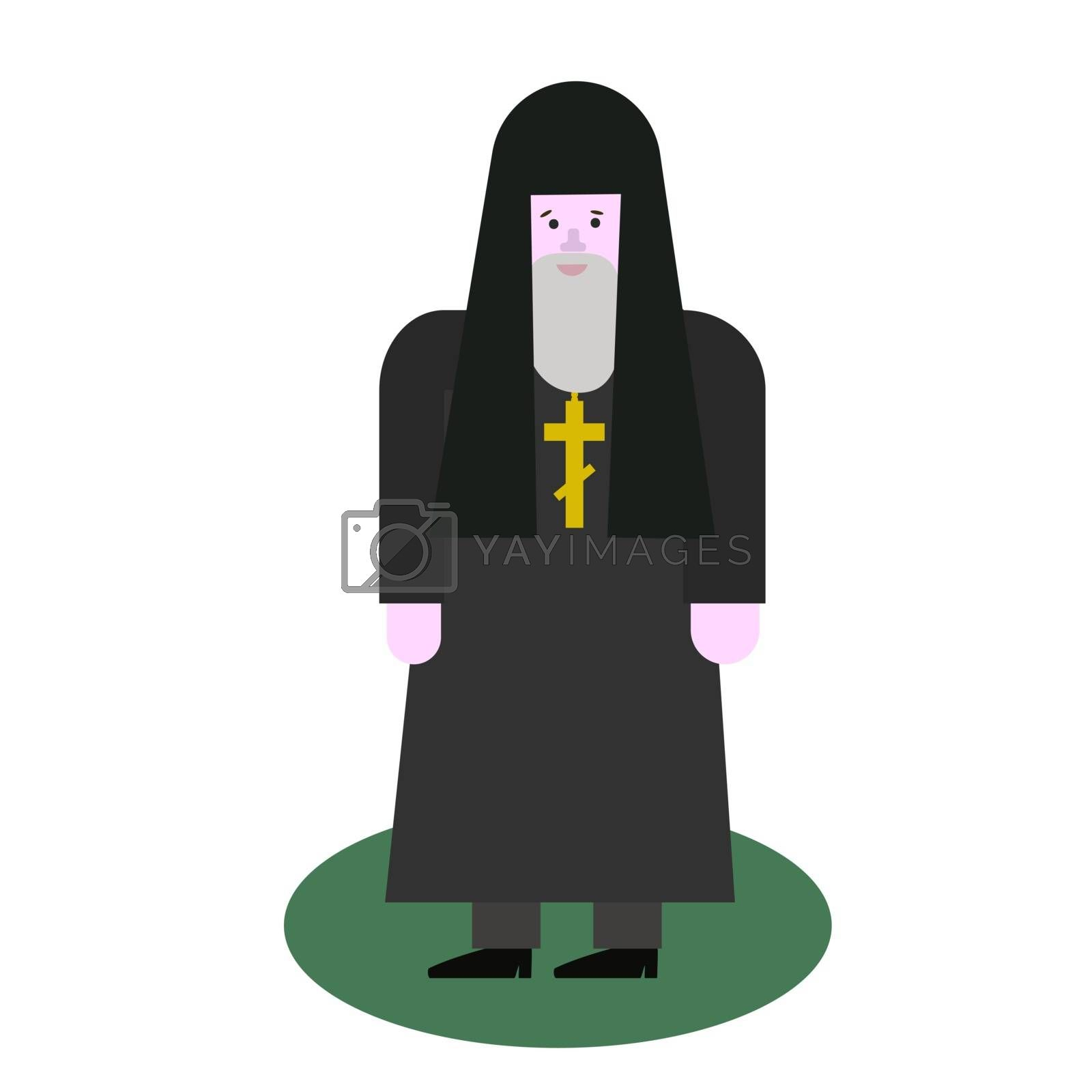 Catholic priest. Pastor reads prayer, holds cross, bible and gospel, bless parishioners. Flat vector cartoon illustration. Objects isolated on a white background