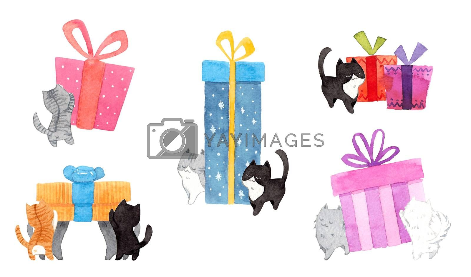 Set of cats are pushing the gift box. Watercolor hand painting illustration on white background. Copy space for your text. Design for greeting cards, gift cards, Christmas, New year, pet advertising.