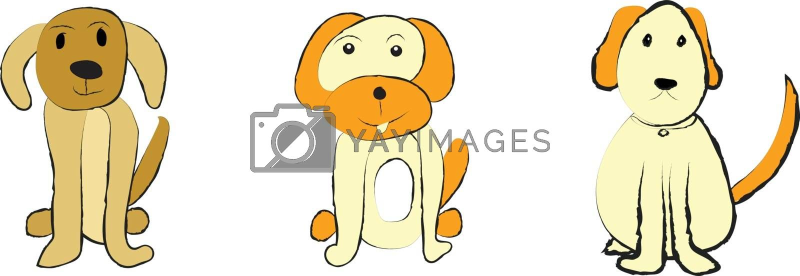 Cute dogs set on white background