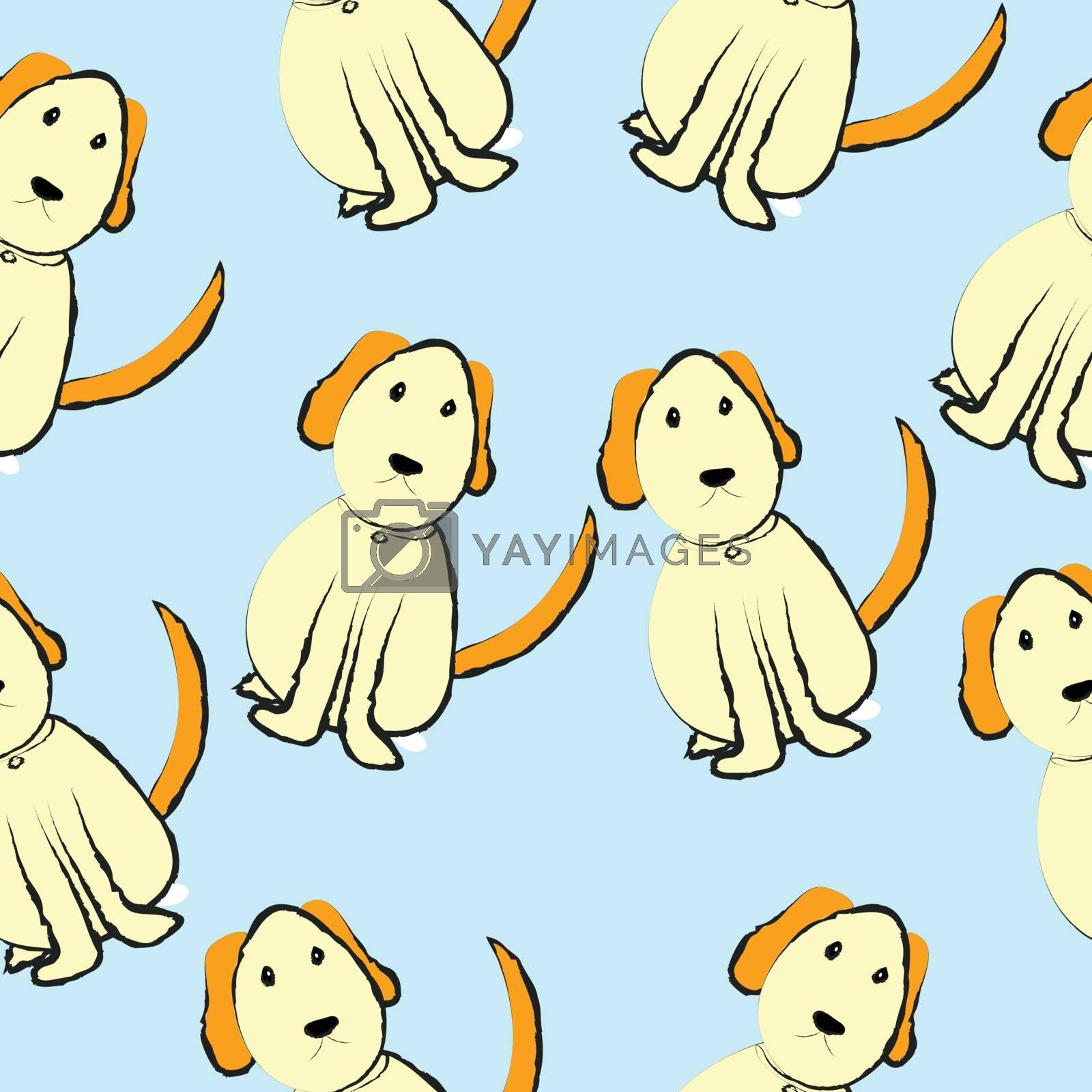 Dogs on blue background, seamless pattern image