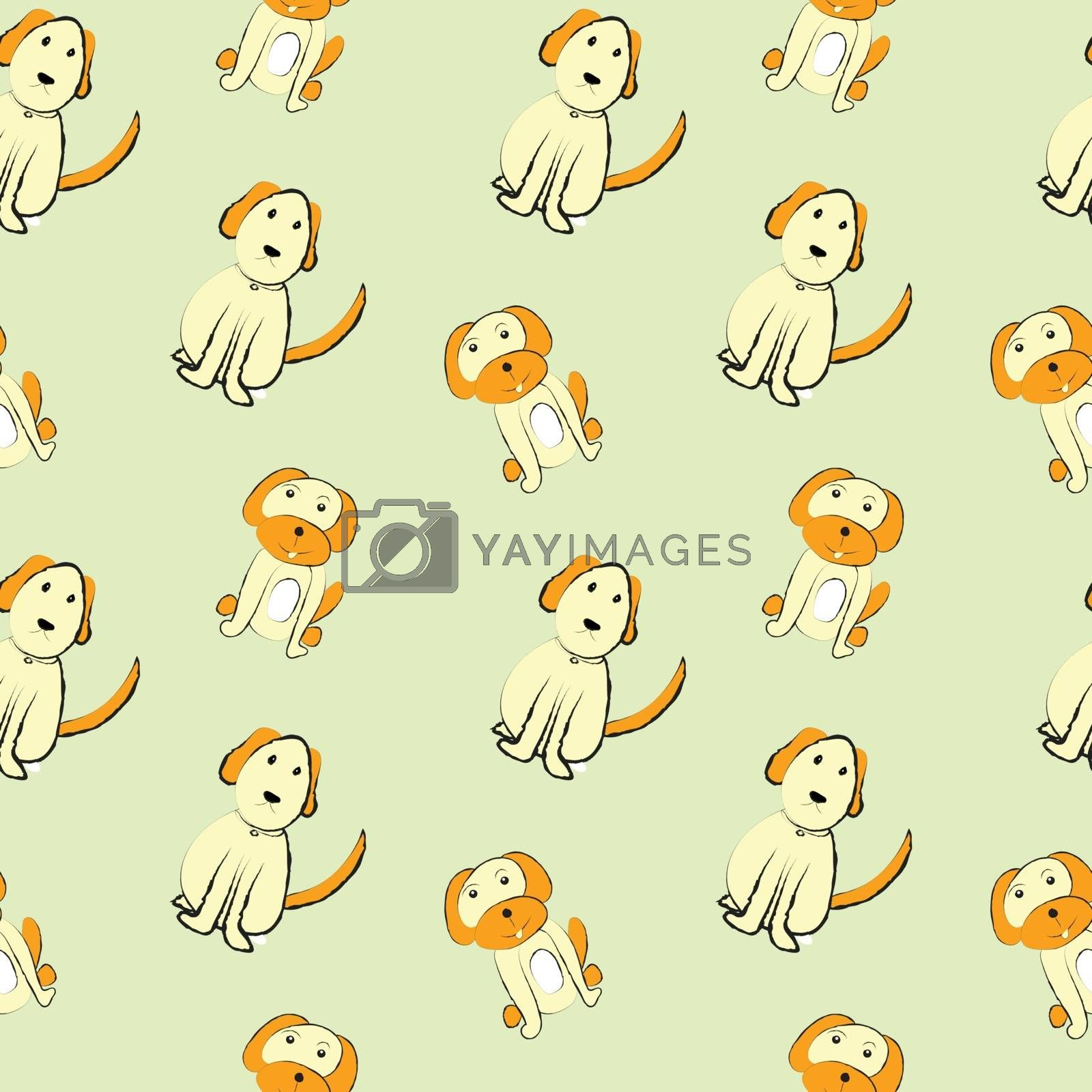 Dogs on cream color  background, seamless pattern image