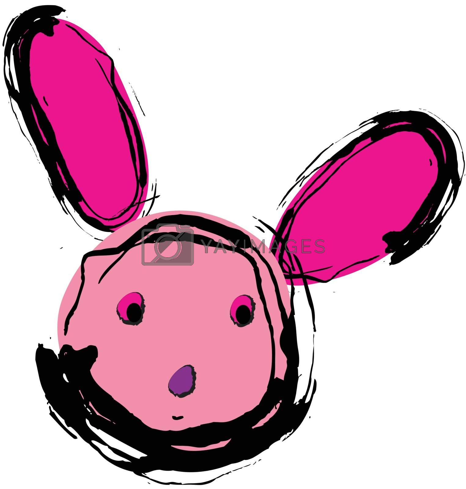 Hand drawn style of pink rabbit on white background