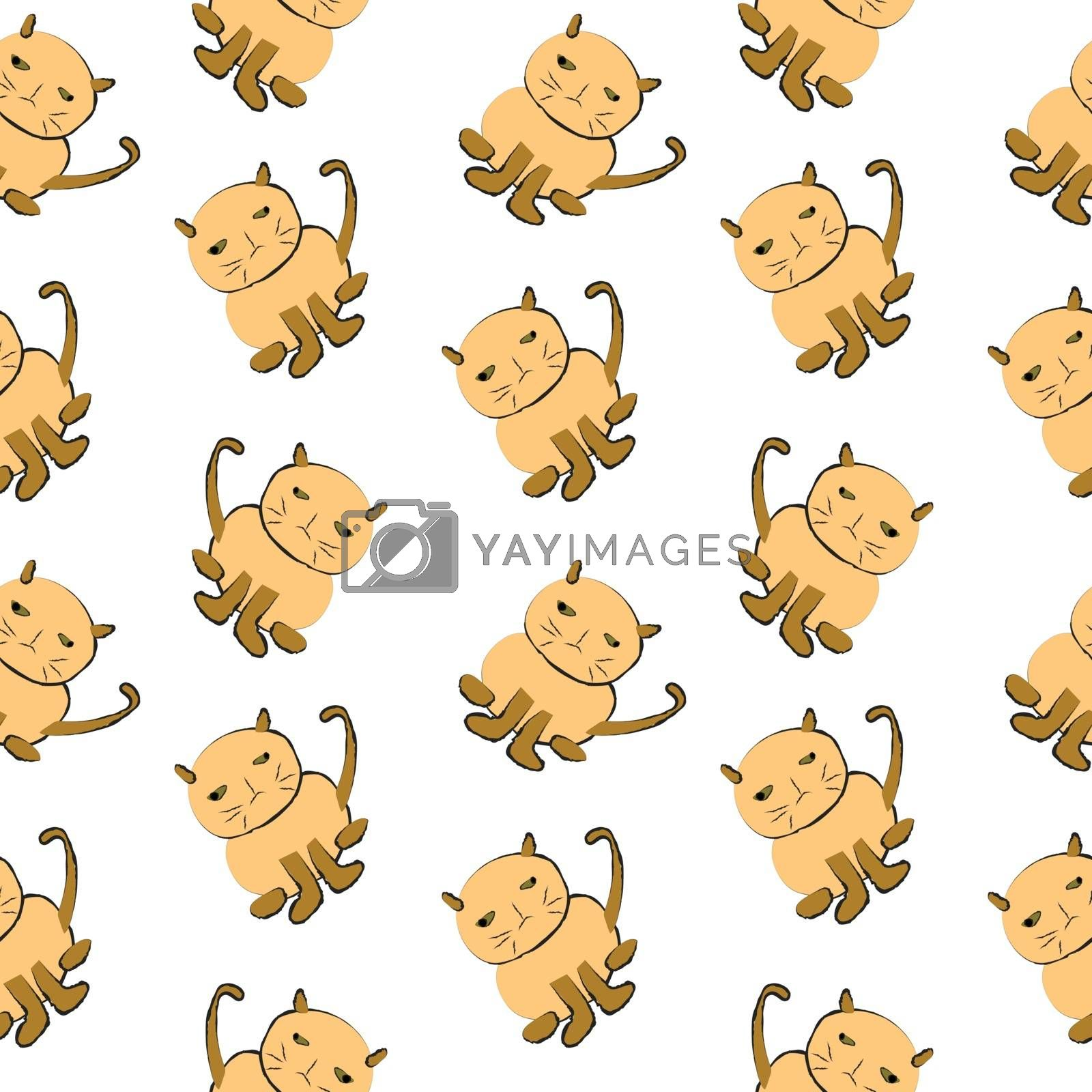 Cats drawing with ink on white background, summer seamless pattern background