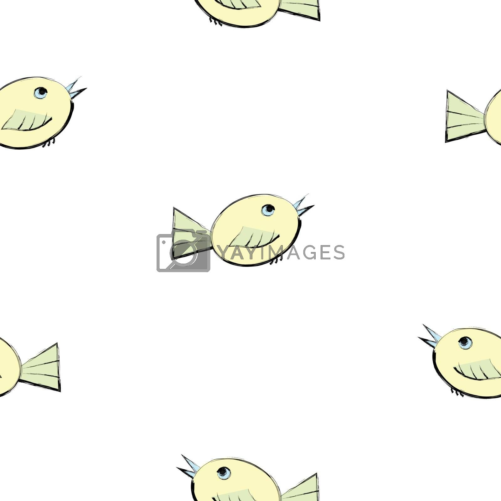 Hand drawn style of cute birds on white background, Vector seamless pattern