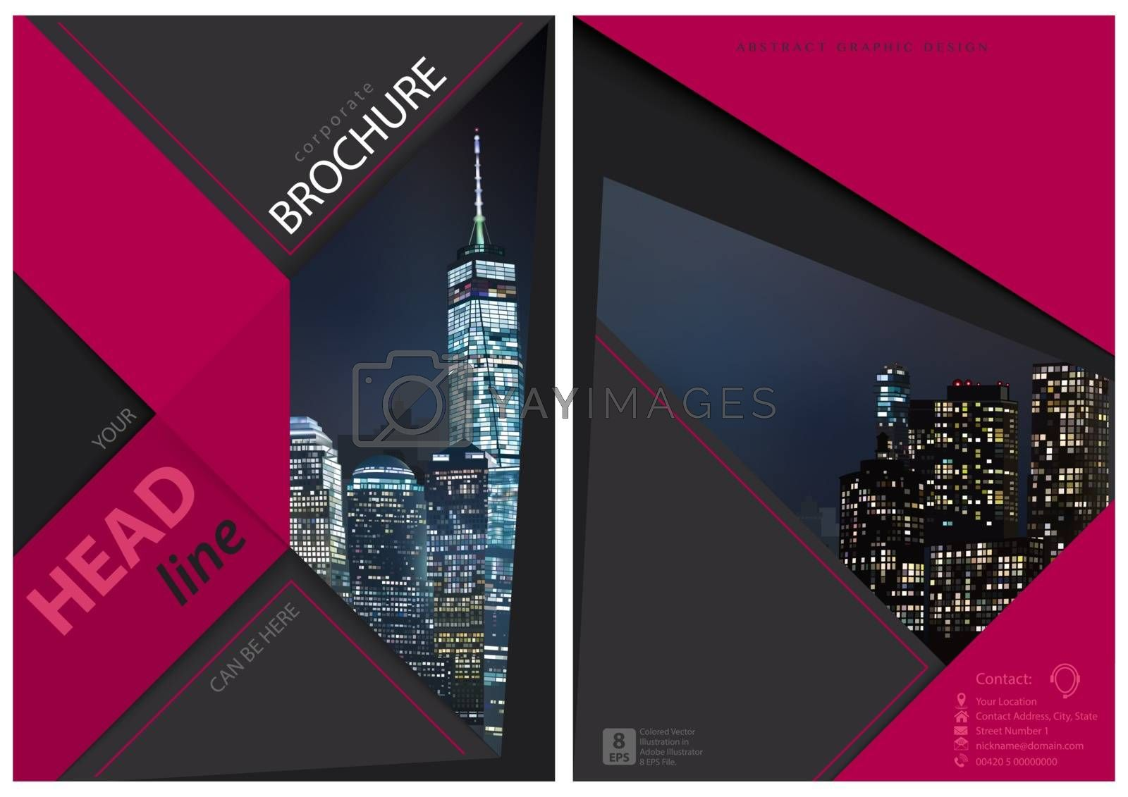 Brochure Graphic Design with Night City - Composition with Modern Geometric Shapes for Your Projects, Vector Illustration