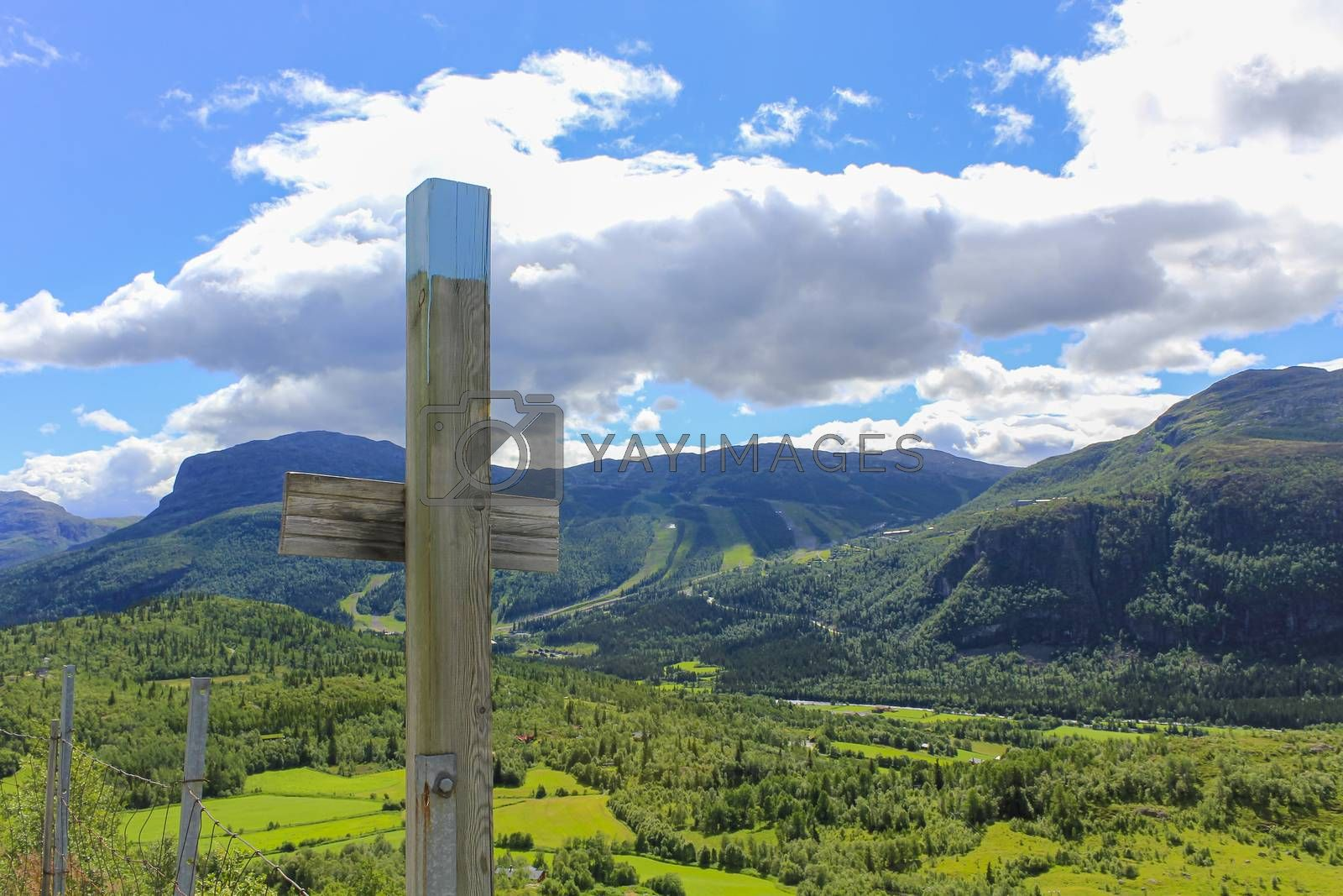 Cross from a fence in Norwegian countryside in Hemsedal, Norway.