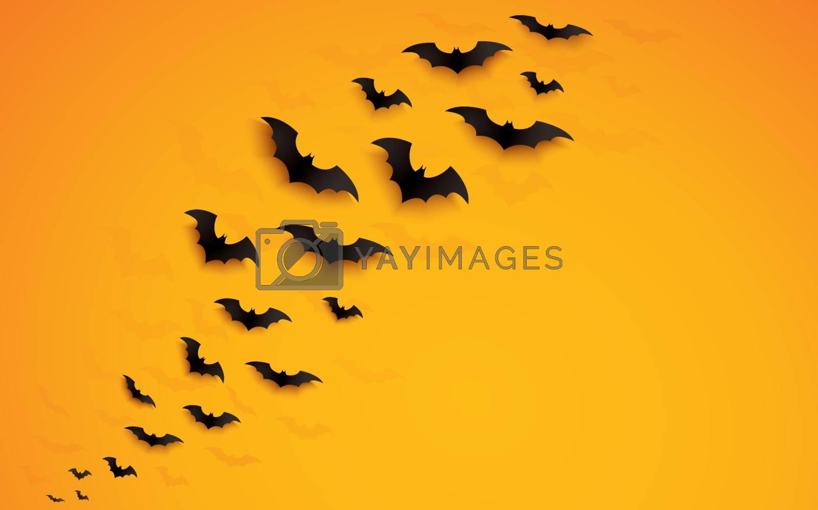 halloween concept bats flying over orange background vector illustration