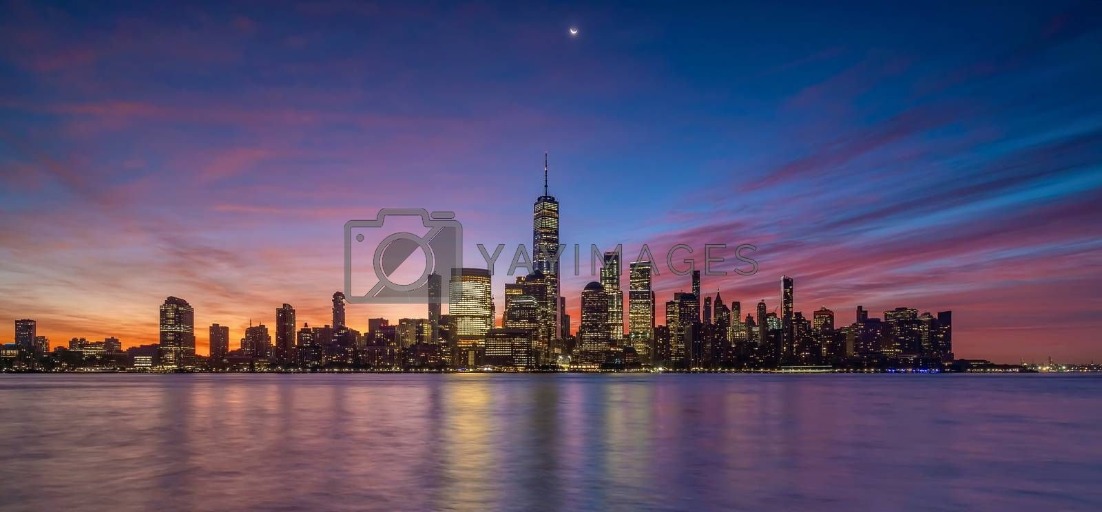 New York City downtown skyline at sunset - beautiful cityscape in USA