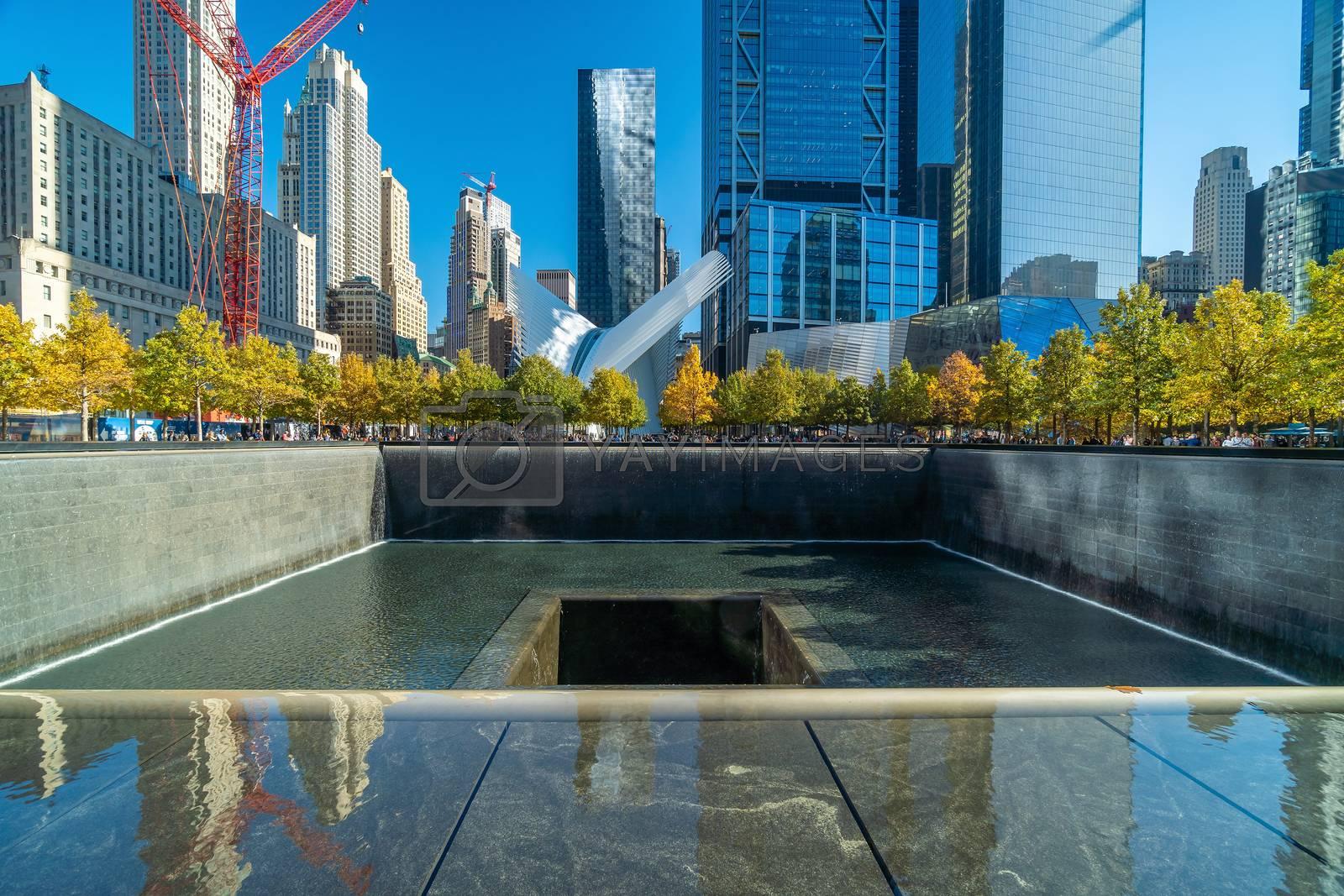 NEW YORK CITY - October 25, 2019 :  9/11 Memorial at World Trade Center Ground Zero in downtown Manhattan, NYC USA