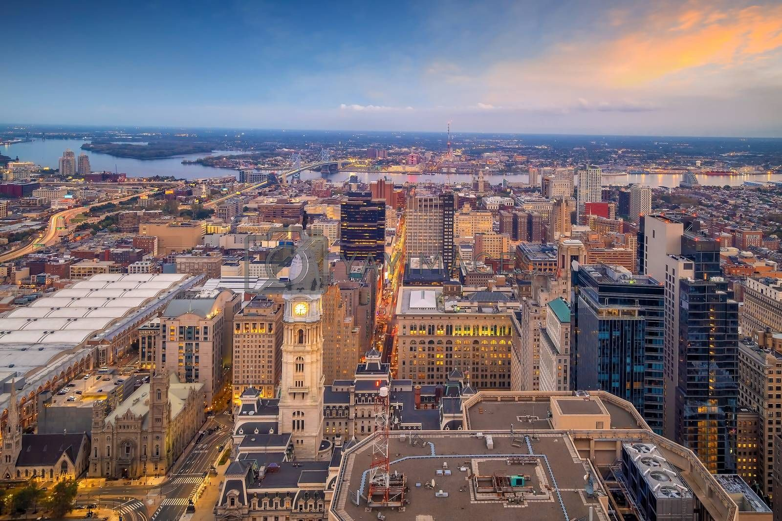 Top view of downtown skyline Philadelphia in Pennsylvania, USA at sunset