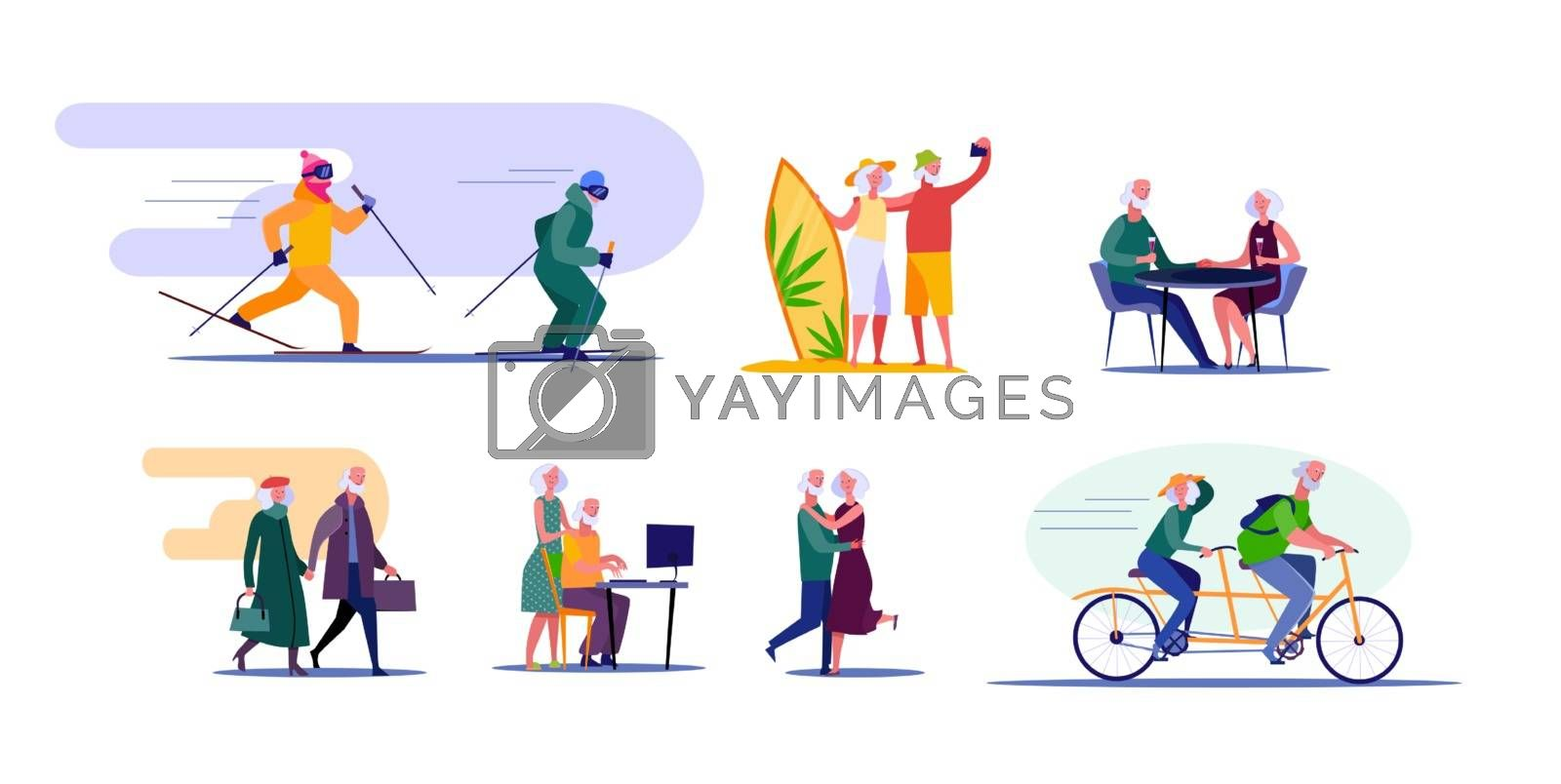 Active senior couple travelling and doing sports. Retired cartoon husband and wife enjoying common interests. Vector illustration for advertising, poster, brochure