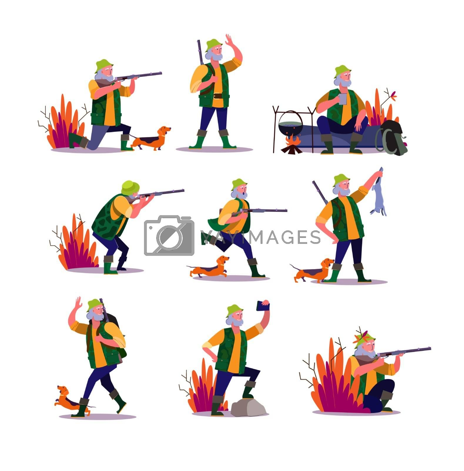 Hunting with dog set. Hunter shooting riffle, fighting gun, cooking over fire outdoors, taking selfie. People concept. Vector illustration for topics like activity, hobby active lifestyle
